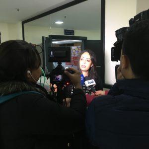 Mouna Echemmakh daglig leder af Lddf-Injad bliver interviewet om kønsbaseret vold i Marokko.
